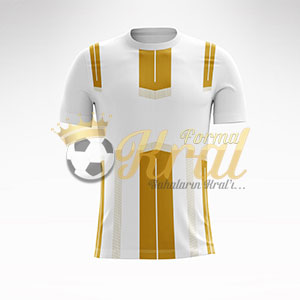 Altın Beyaz Dortmund Halı Saha Forma + Şort